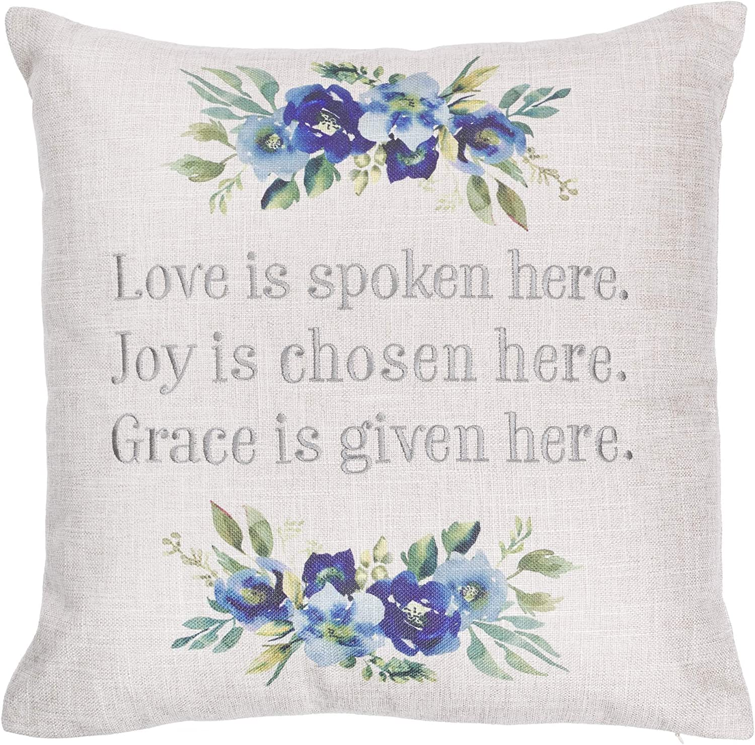 Christian Art Gifts Decorative Throw Pillow | Love Joy Grace | Embroidered Blue Floral Couch Pillow and Inspirational Home Decor, 18 x 18