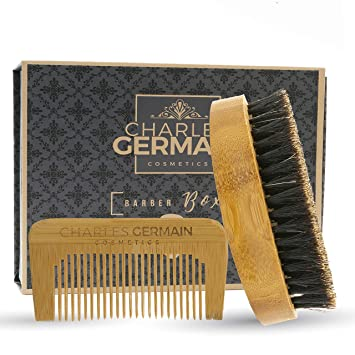 Cepillo de la barba (cerdas de jabalí 100% naturales + peine para la barba