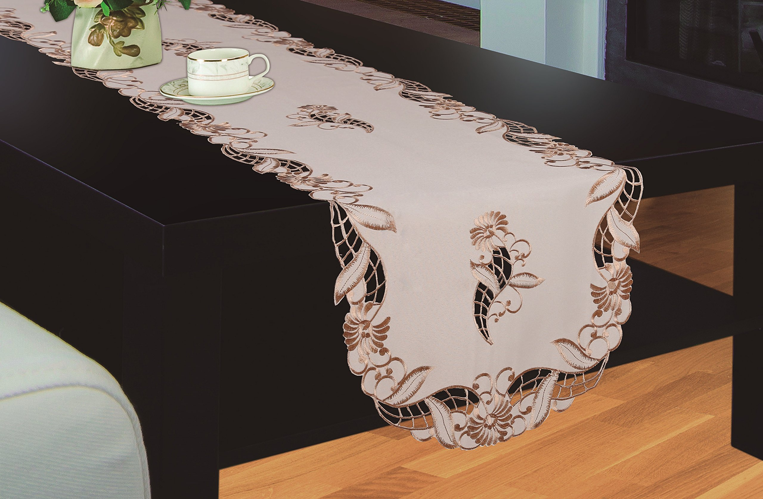 Royal Bedding Sydney Table Runner, Luxury Embroidered and Hand Cutwork Table Runner, Top Dinner Kitchen Table Runner, 16 x 36 Inches, Beige and Gold