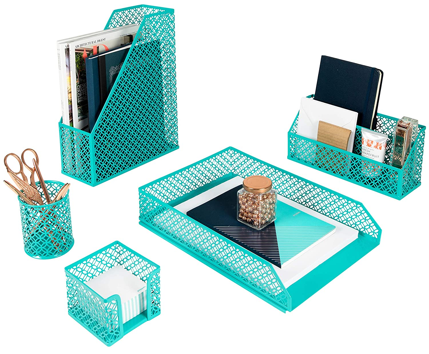 Blu Monaco 5 Piece Dark Teal Desk Organizer Set - Desk Organizers and Accessories for Women - Teal Desk Accessories - Desktop Organization