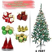 Zest 4 Toyz 6 Feet Christmas Tree with 2 Santa Cap & 100 Pcs Tree Decoration Set for Christmas Home Decor (Balls, Bells, Gifts, Drums, Candy Sticks & Santa Claus)