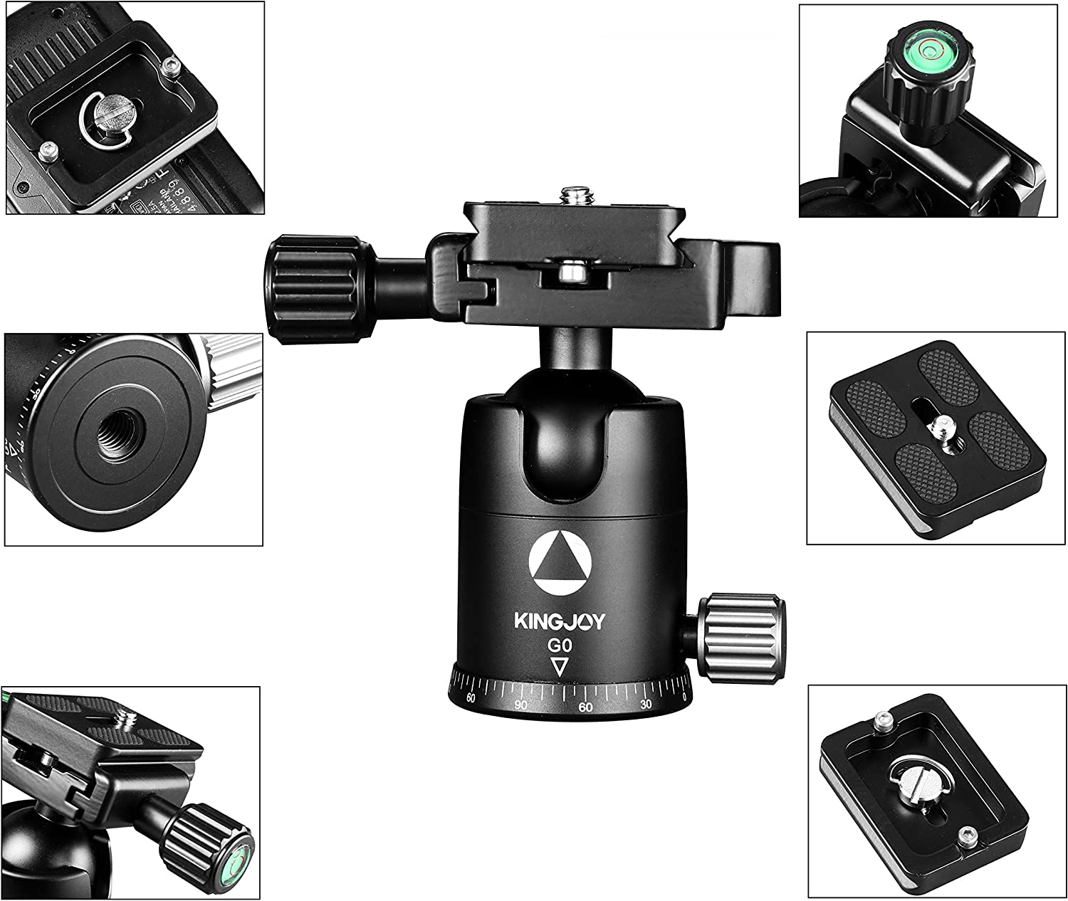 G0 Black//Gray Compact Kingjoy G Series Rotation Ball Head with Arca Swiss Quick Release Plate