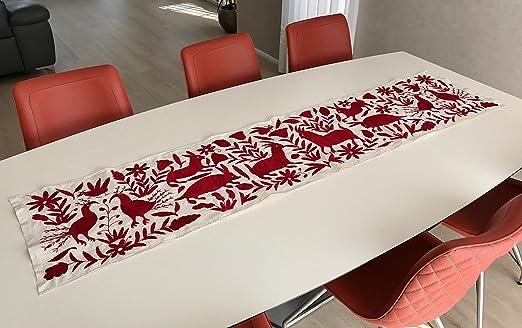 Horizontal Rojo Otomi cama/camino de mesa, bordado a mano por el ...