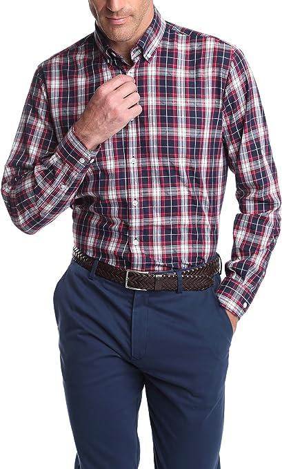 Caramelo, Camisa Semivestir Button Down Con Tira Para Arremangar, Hombre · Granate, talla XXL: Amazon.es: Ropa y accesorios