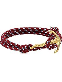 Crucible Jewelry Unisex Adult Gold Plated Polished Stainless Steel Anchor Clasp Red Rope Adjustable Wrap Bracelet , One Size