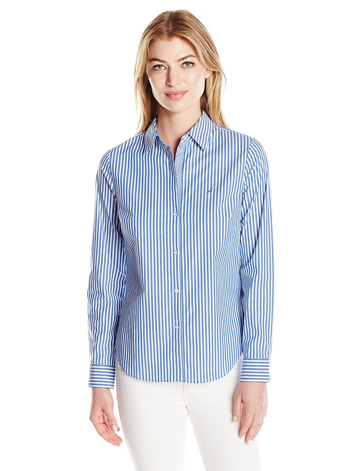 Nautica Womens Long Striped Stretch Shirt With Chambray Trim Sleeve