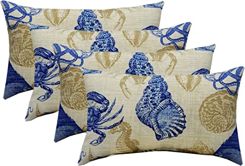 Set of 4 Indoor/Outdoor Lumbar Rectangular Throw Pillows 12″x20″ Solarium Sealife Marine Blue Tan Crab