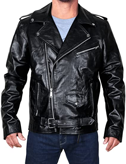 c2acdbe9710d Fashion_First Men's Black Brando Slim Fit Asymmetrical Zipper Motorcycle  Rider Biker Leather Jacket (XX-