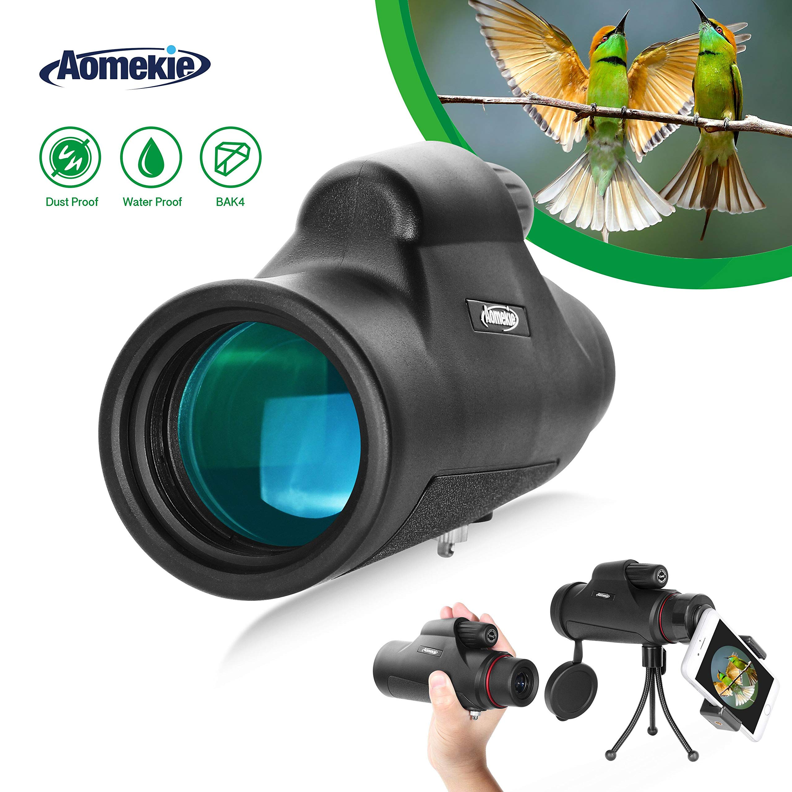 Aomekie 10x42 Monocular Telescope BAK4 Prism FMC Compact Handhled Waterproof High Power Spotting Scope with Phone Adapter Tripod and Carrying Bag for Adults Kids Hunting Birdwatching Golf Camping by AOMEKIE