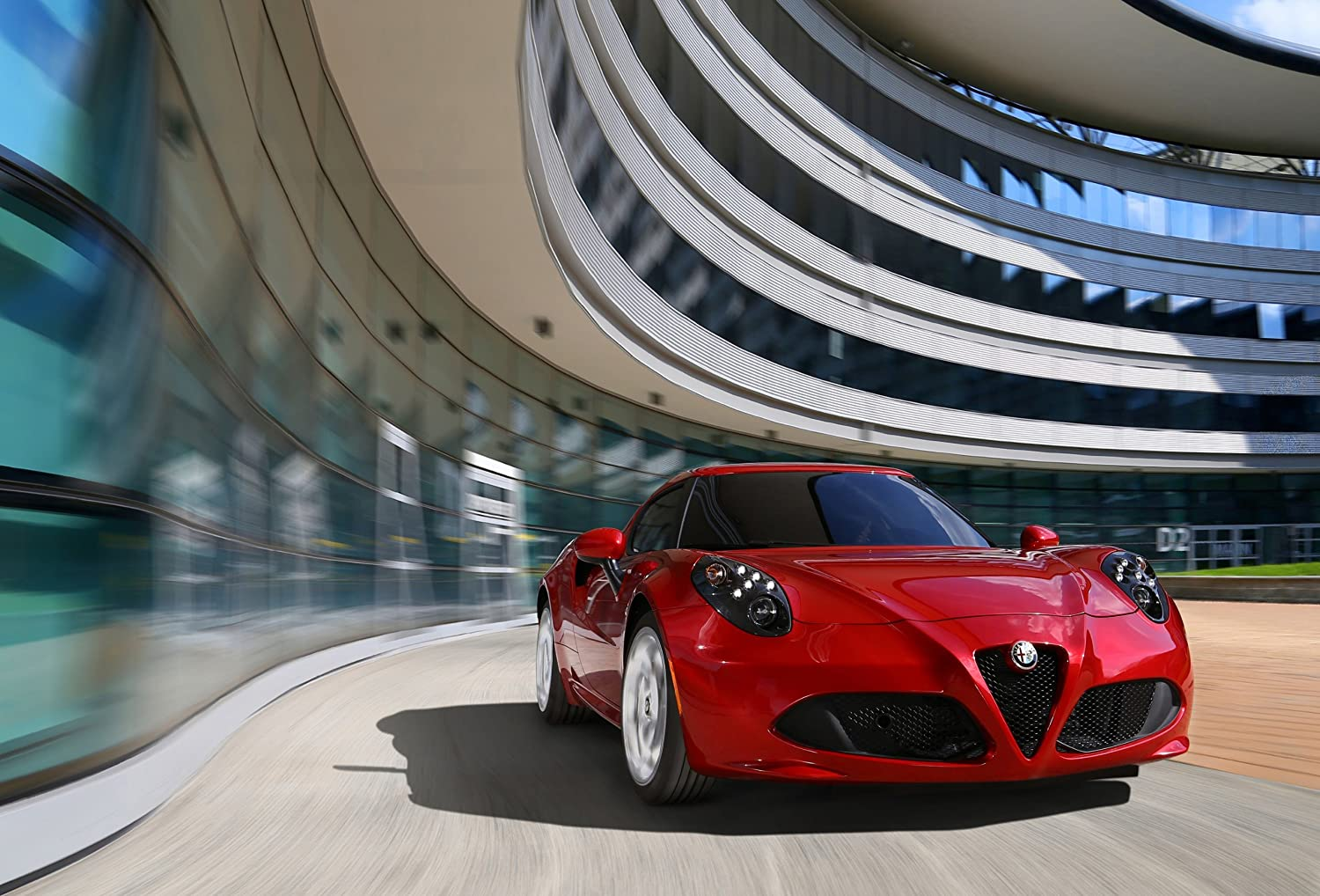 "Alfa Romeo 4C (2014) Car Art Poster Print on 10 mil Archival Satin Paper Red Front Closeup Motion View 36""x24"""