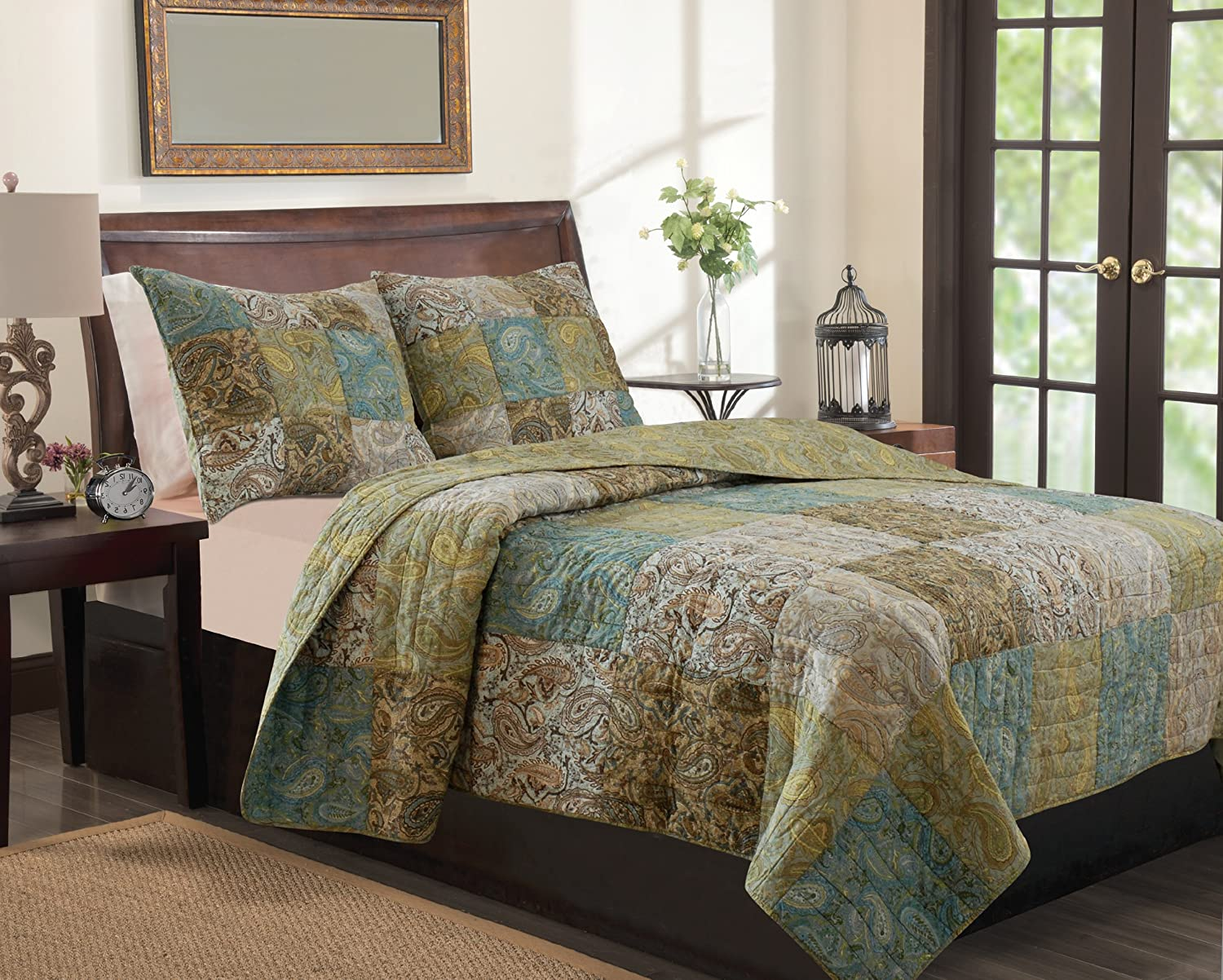 Greenland Home 3-Piece Vintage Paisley Quilt Set, King
