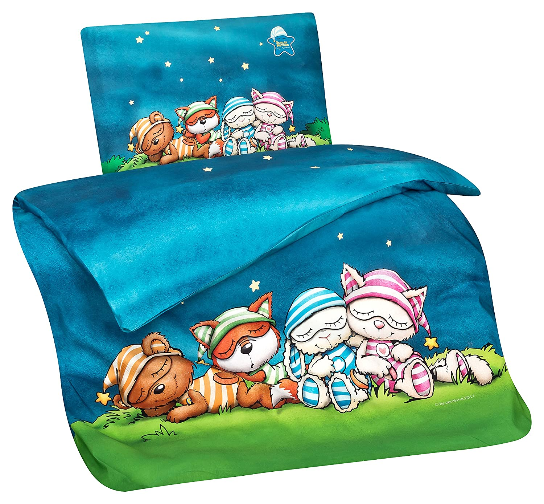 Aminata Kids Schlafmütze-n Kinder-Bettwäsche 100x135 cm Jungs Mond Wolke-n dunkel-blau Weiss-e Baumwolle Kuschel-Tier Lizenz Katze Bär Einhorn Fuchs