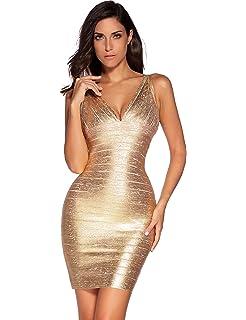 d6b6bbdcdf6 Amazon.com  Meilun Women s Bandage Dress Backless Stripe Sleeveless ...