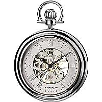 Akribos XXIV Men's AKR453SS Mechanical Skeleton Silver-Tone Pocket Watch