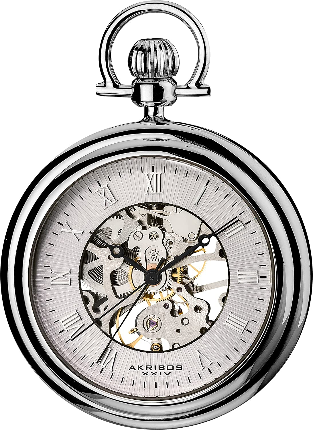 akribos xxiv men mechanical skeleton pocket watch with silver dial