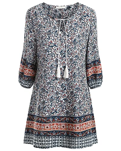 BAISHENGGT Women's Tied V-Neck Ethnic Printed Casual Mini Dress
