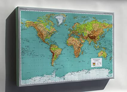Amazon Com Canvas 24x36 World Map Pub 1970 Everything Else