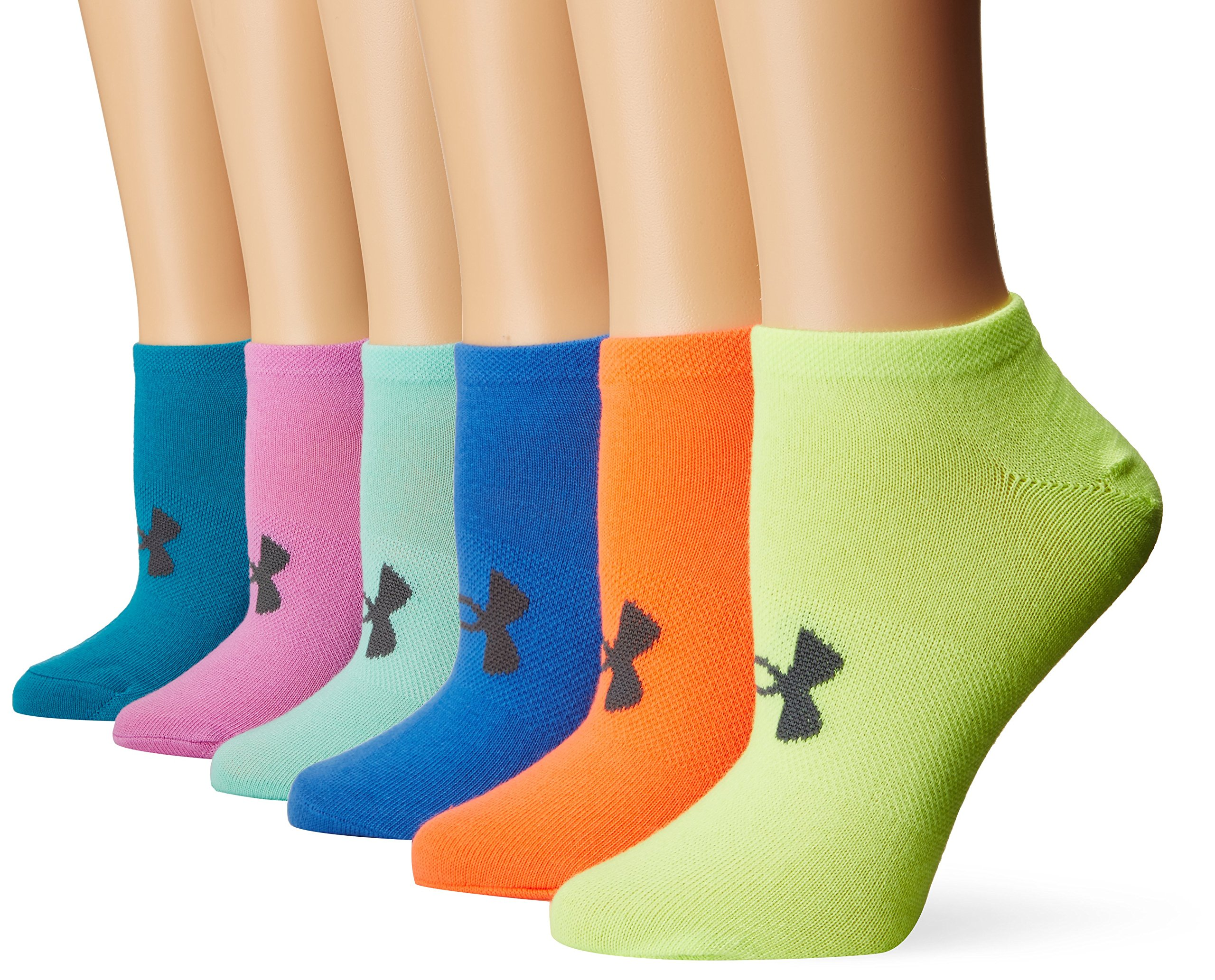 Under Armour Women's Essential No Show Socks (6 Pack), Multicolor, Medium by Under Armour