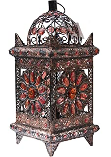 moroccan inspired lighting. Vintage Moroccan Jewelled Table Light - Bronze Metal With Brown Acrylic Beads 43cm X 20cm Stunning Inspired Lighting