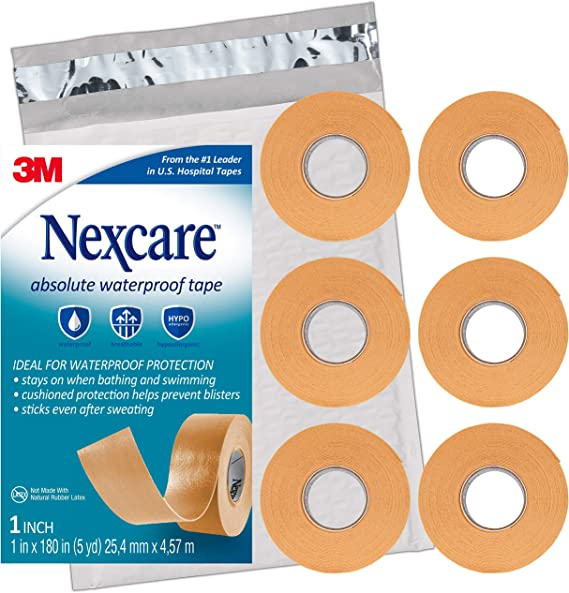 Amazon Com Nexcare Absolute Waterproof First Aid Tape Tears Easily 6 Rolls Health Personal Care
