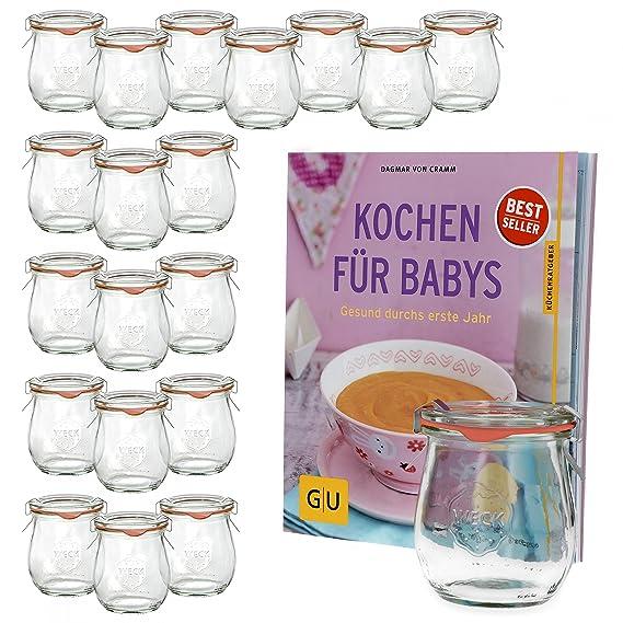 20 piezas, Weck tulipán cristal con tapa de cristal, resistente al anillo y alarma de grapas 220 ml + Libro de Recetas Cocinar para bebés - Dagmar de cramm, ...