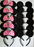 CHuangQi Mouse Ears Solid Black&Bow Headband for Boys&Girls Birthday Party