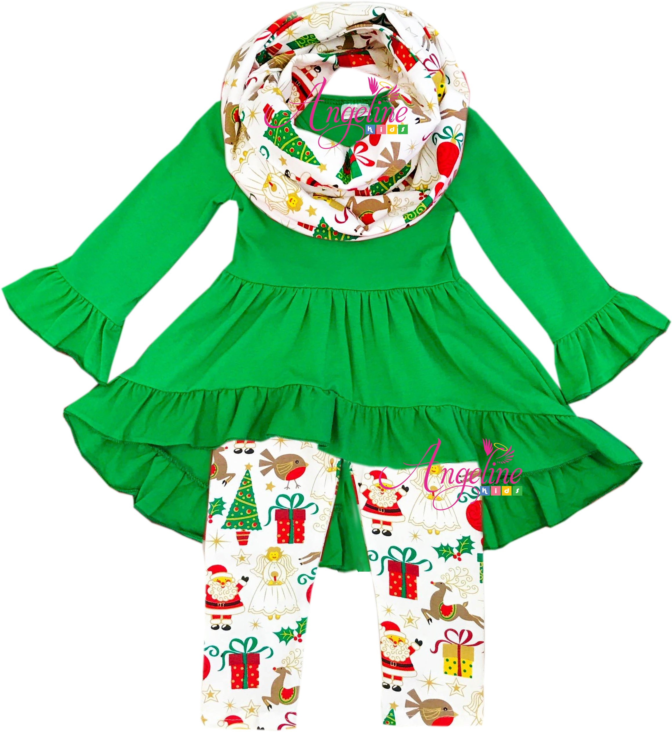 Boutique Clothing Girls Christmas Happy Holiday Green Top Scarf Set 12-18M/3XS