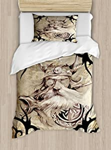 Lunarable Viking Duvet Cover Set, Tattoo Pattern with Viking Warrior Silhouette Bearded Vintage Effect, Decorative 2 Piece Bedding Set with 1 Pillow Sham, Twin Size, Black Beige