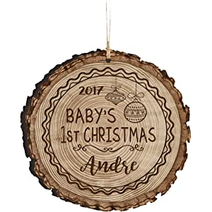 Amazon personalized babys first christmas ornament new parent personalized babys first christmas ornament new parent gift ideas for newborn boys and girls custom engraved negle Choice Image