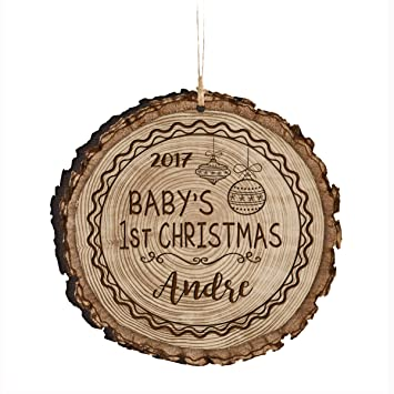 Amazon.com : Personalized Baby's First Christmas Ornament New Parent ...