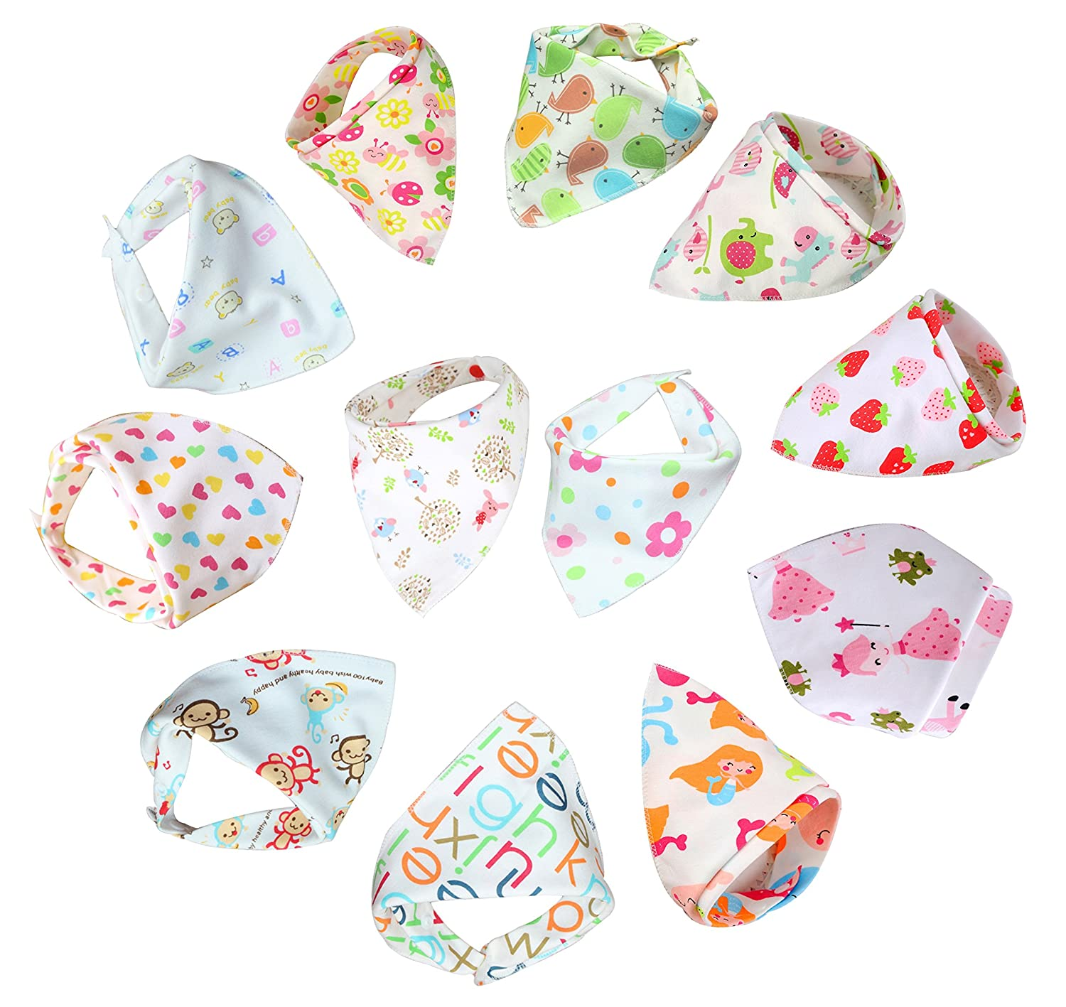 Bebedou 12 PACK Pink Girls bibs Super Absorbent Pure Cotton Stylish Bandana / Dribble Bib zoo unicorn design for Babies and Toddler