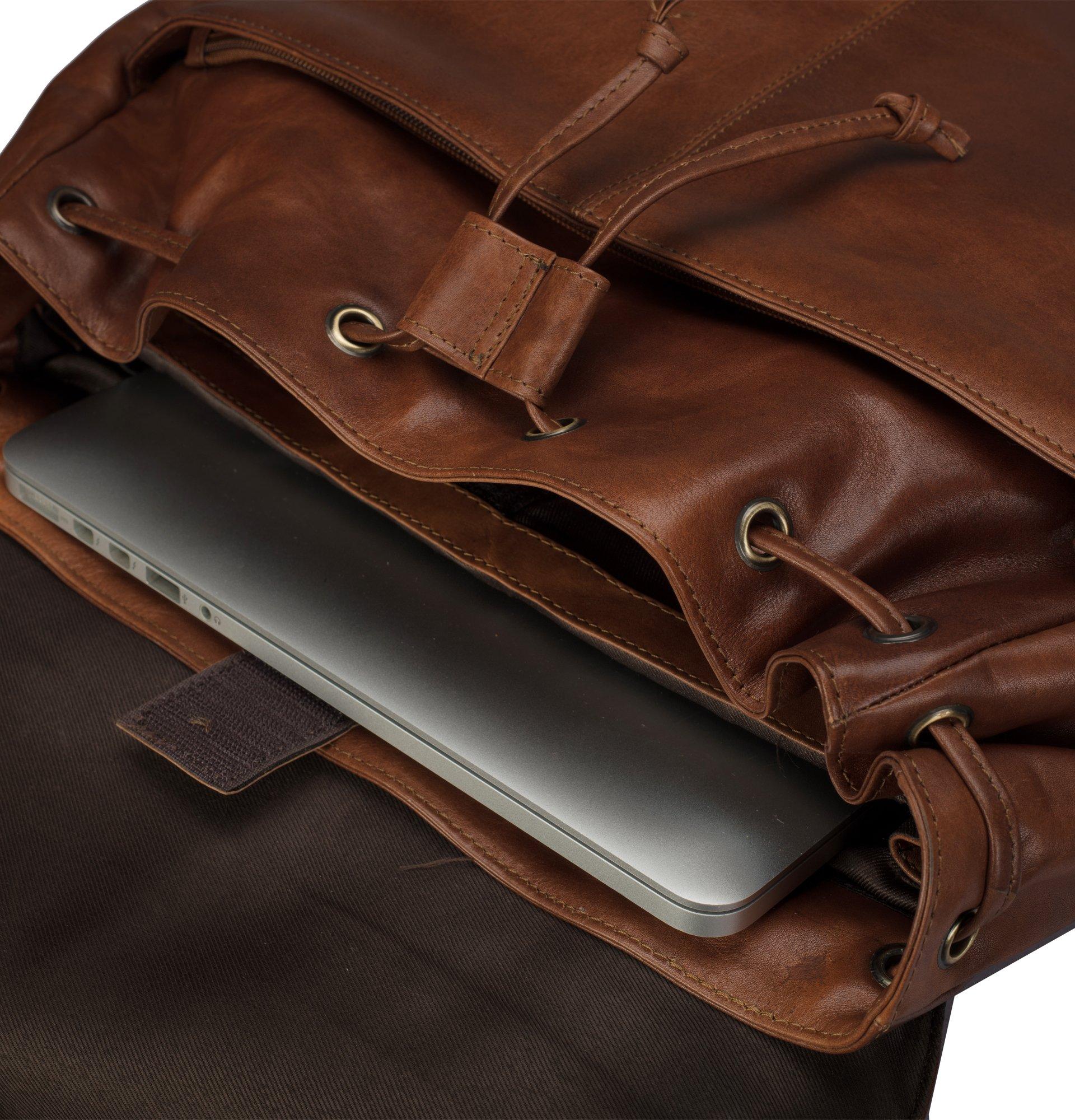 Finelaer Vintage Brown Laptop Backpack Daypack Rucksack Travel Hiking Bag Men Women by FINELAER (Image #7)