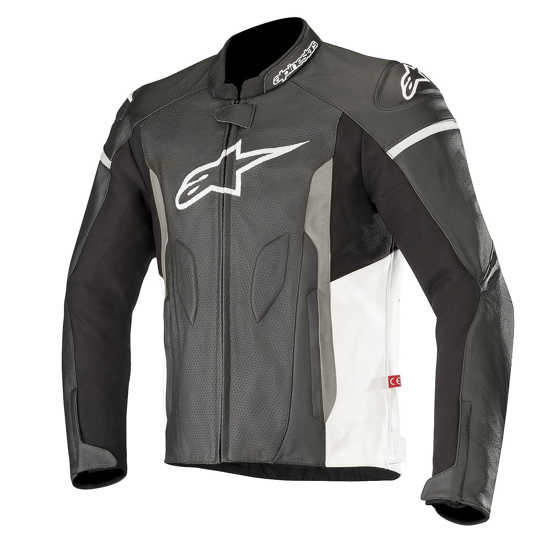 50 EU, Black White Alpinestars 2810-3366 Faster Airflow Leather Street Motorcycle Jacket