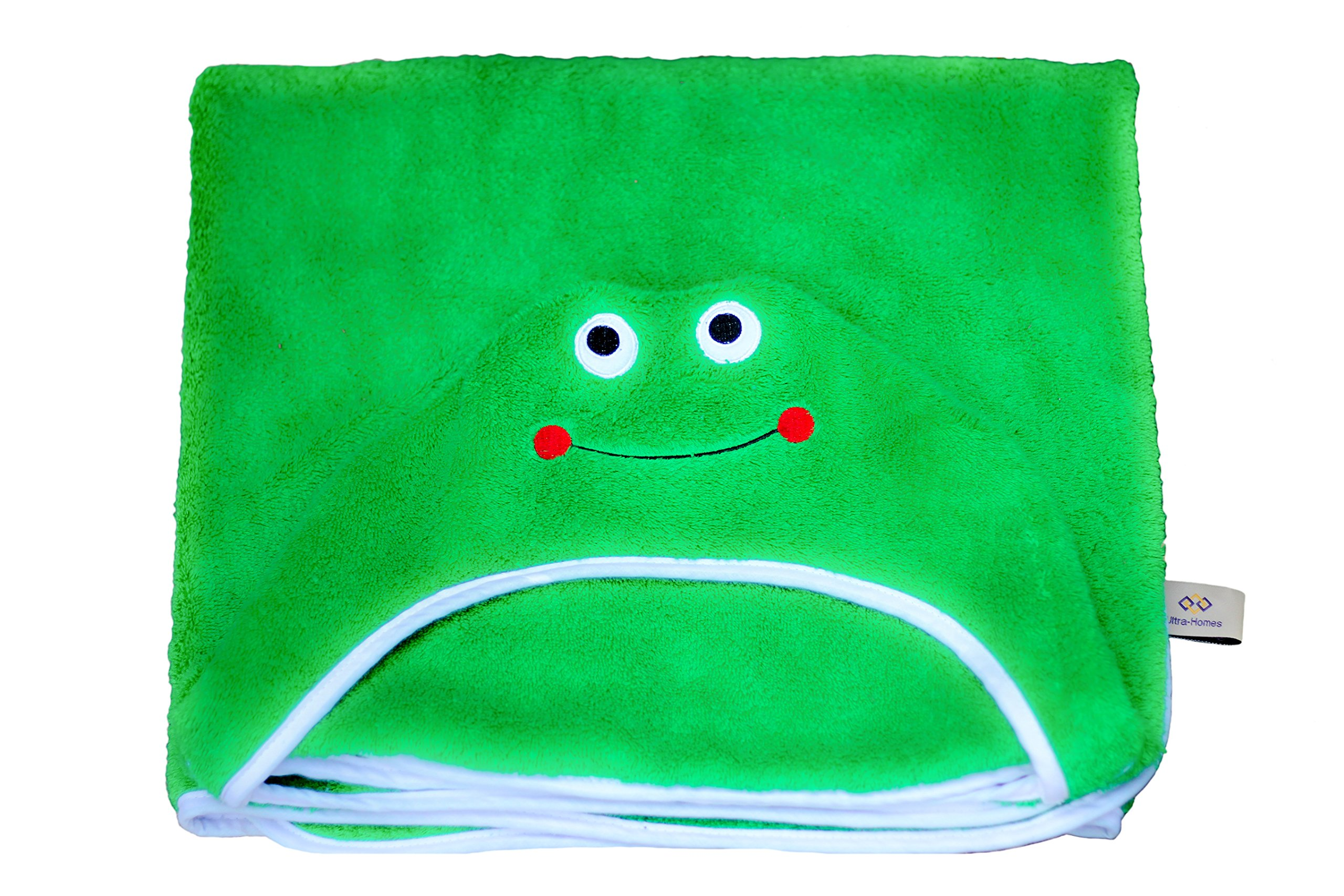 "Frog Face Hooded Kid Towel (Green), 27.5"" x 49"", Plush and Absorbent Luxury Bath Towel! 600 GSM, 100% Cotton"