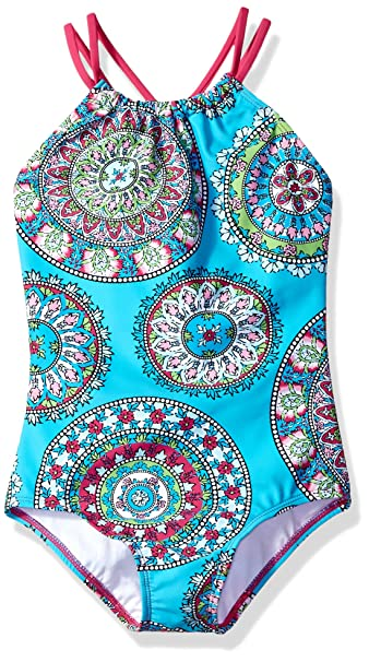 8bc3f89d86 Kanu Surf Toddler Girls' Jasmine Beach Sport Halter One Piece Swimsuit, Aqua,  ...