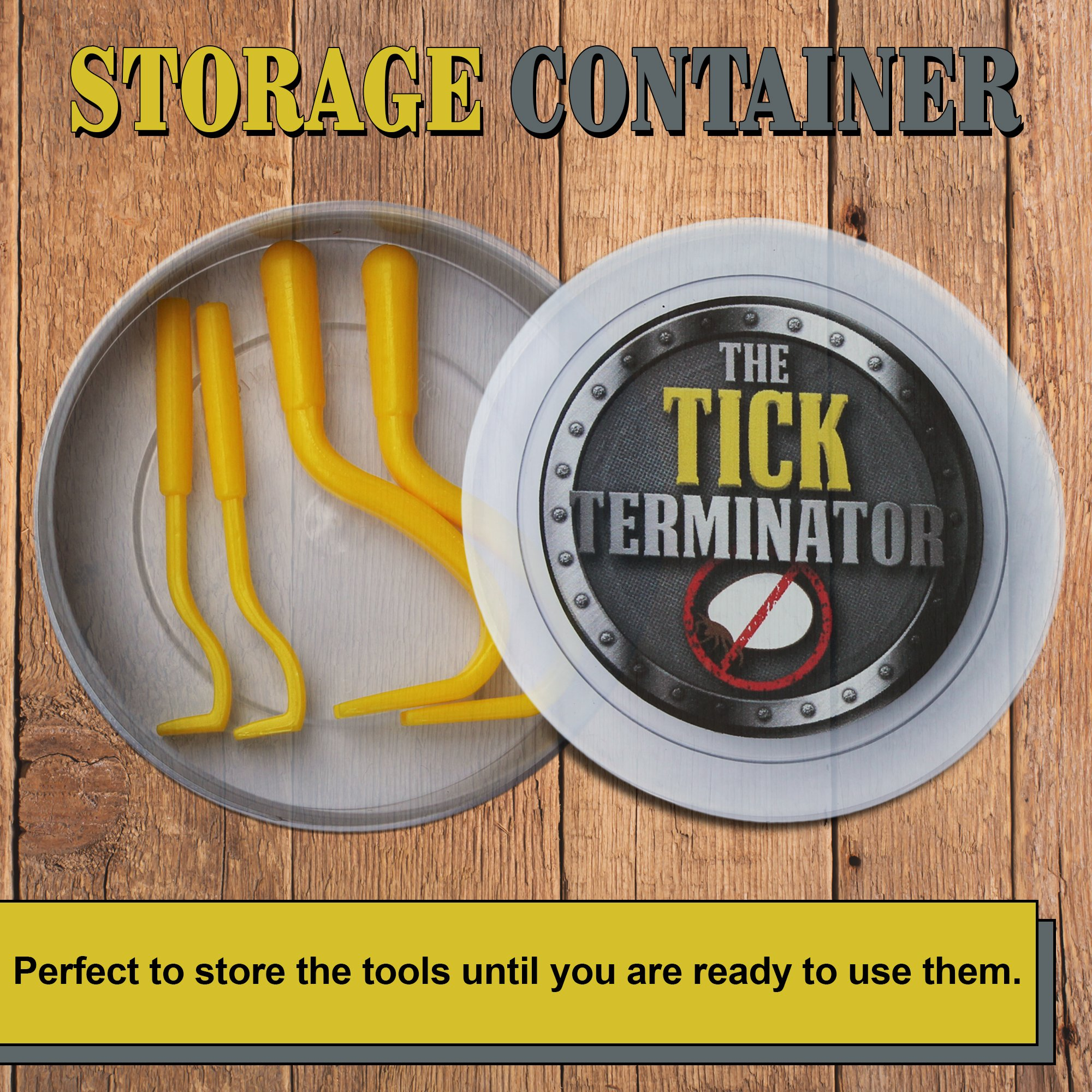 4 Complete Sets of Tick Terminator Remover Hooks with Storage Container, Removes The Whole Tick Safely using a Large or Small Twisting Tools