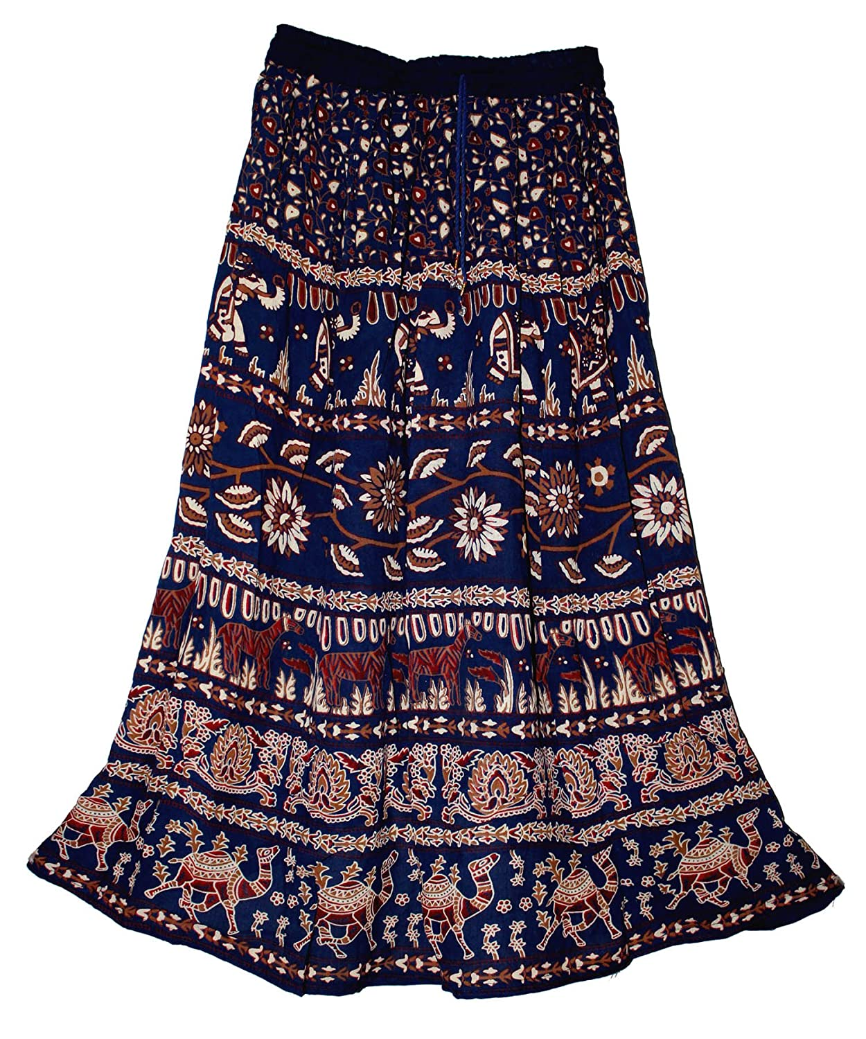 ff9dbd67fe Indian Ethnic Print Rayon Crepe Crinkle Skirt 2 Panel Waist with elastic  and string Free One Size XS / S / M / L Length - 36 INCHES