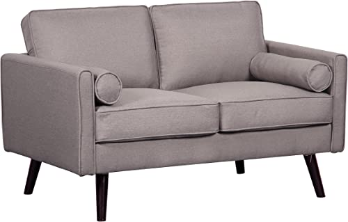 Container Furniture Direct Alice Romantic Linen Upholstered Mid-Century Modern Loveseat