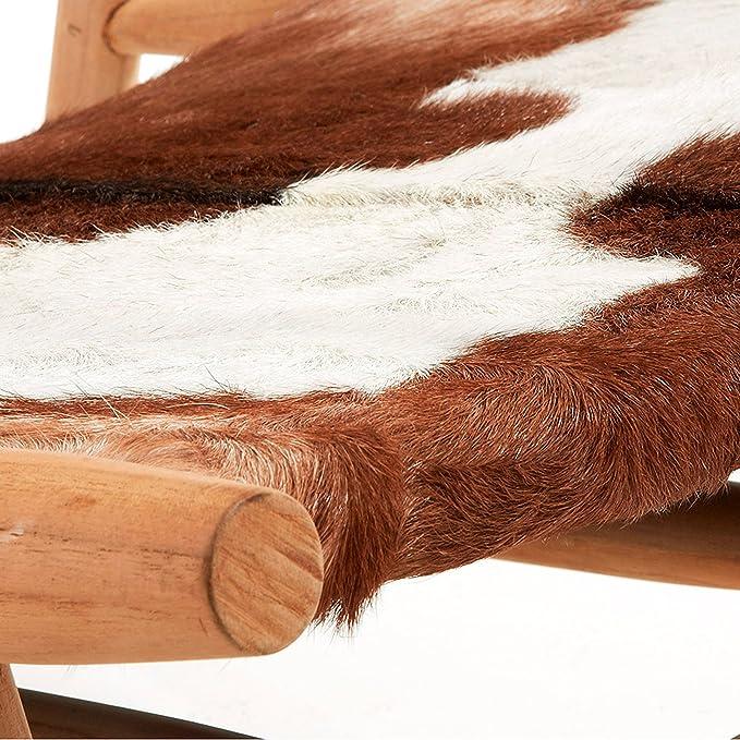 Poltrona Eki in pelle di capra e legno di teak Kave Home