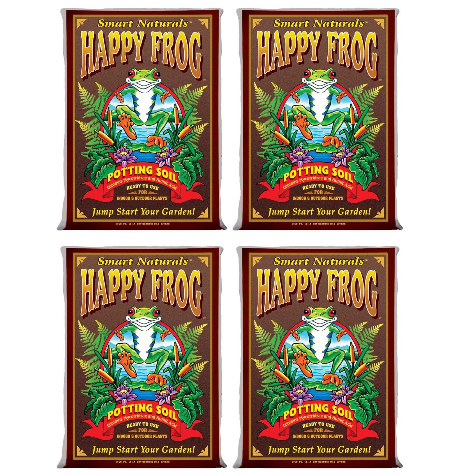 (4) FOXFARM FX14047 pH Adjusted Happy Frog Organic Potting Soil Bags | 8 Cu Ft