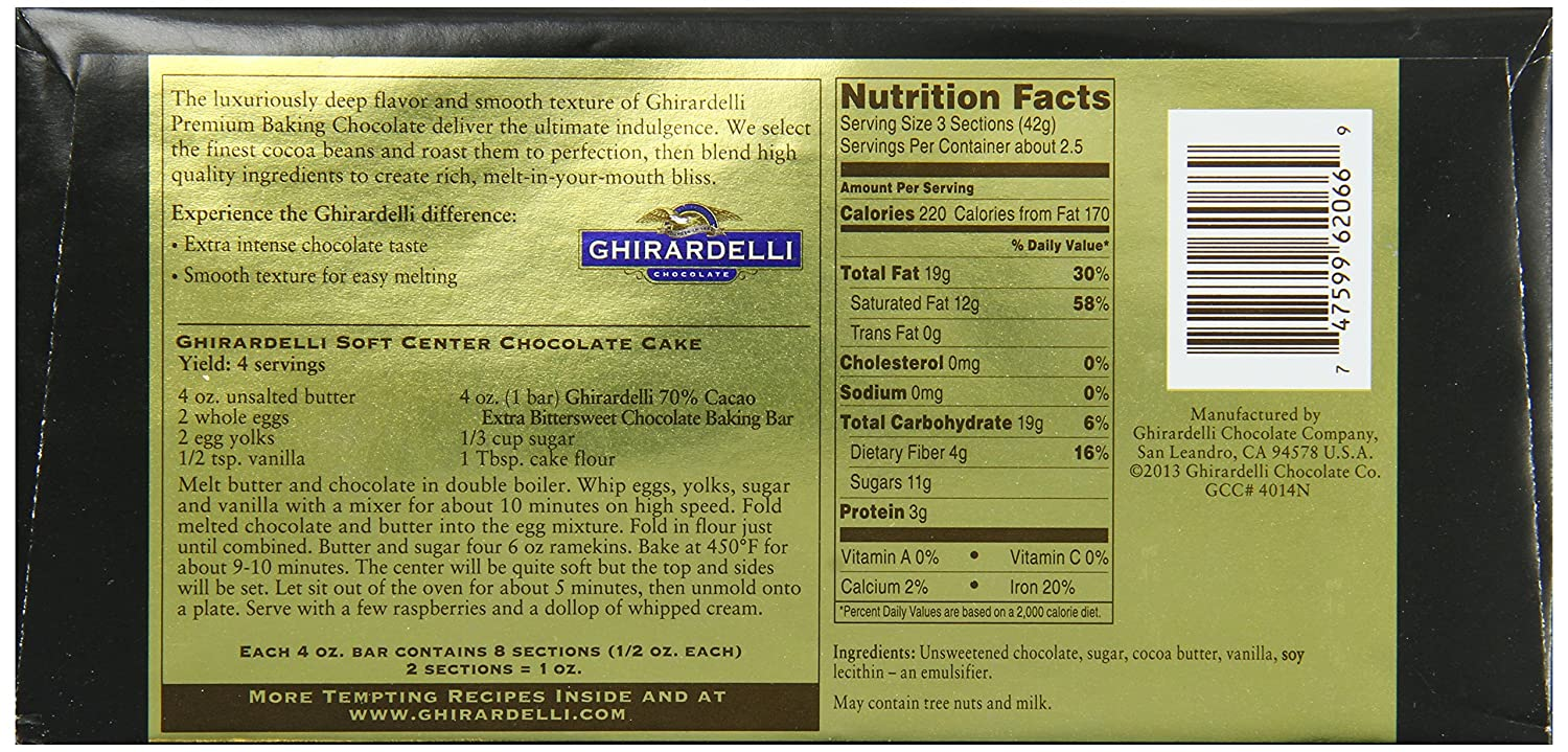 Amazon.com : Ghirardelli Chocolate Baking Bar, 100% Cacao ...