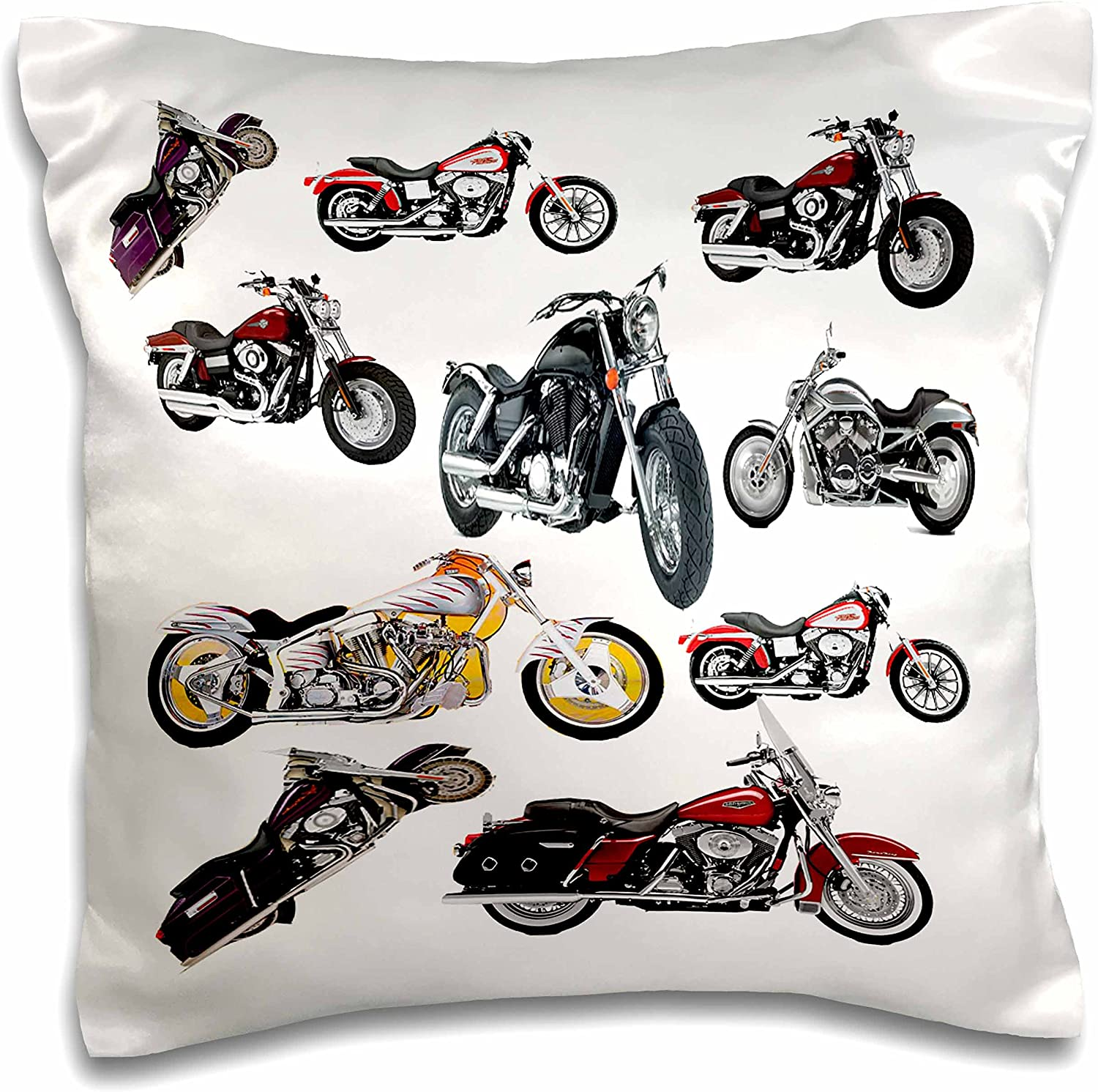 3dRose pc_5730_1 Pillow Case Picturing Harley-Davidson174; Motorcycles