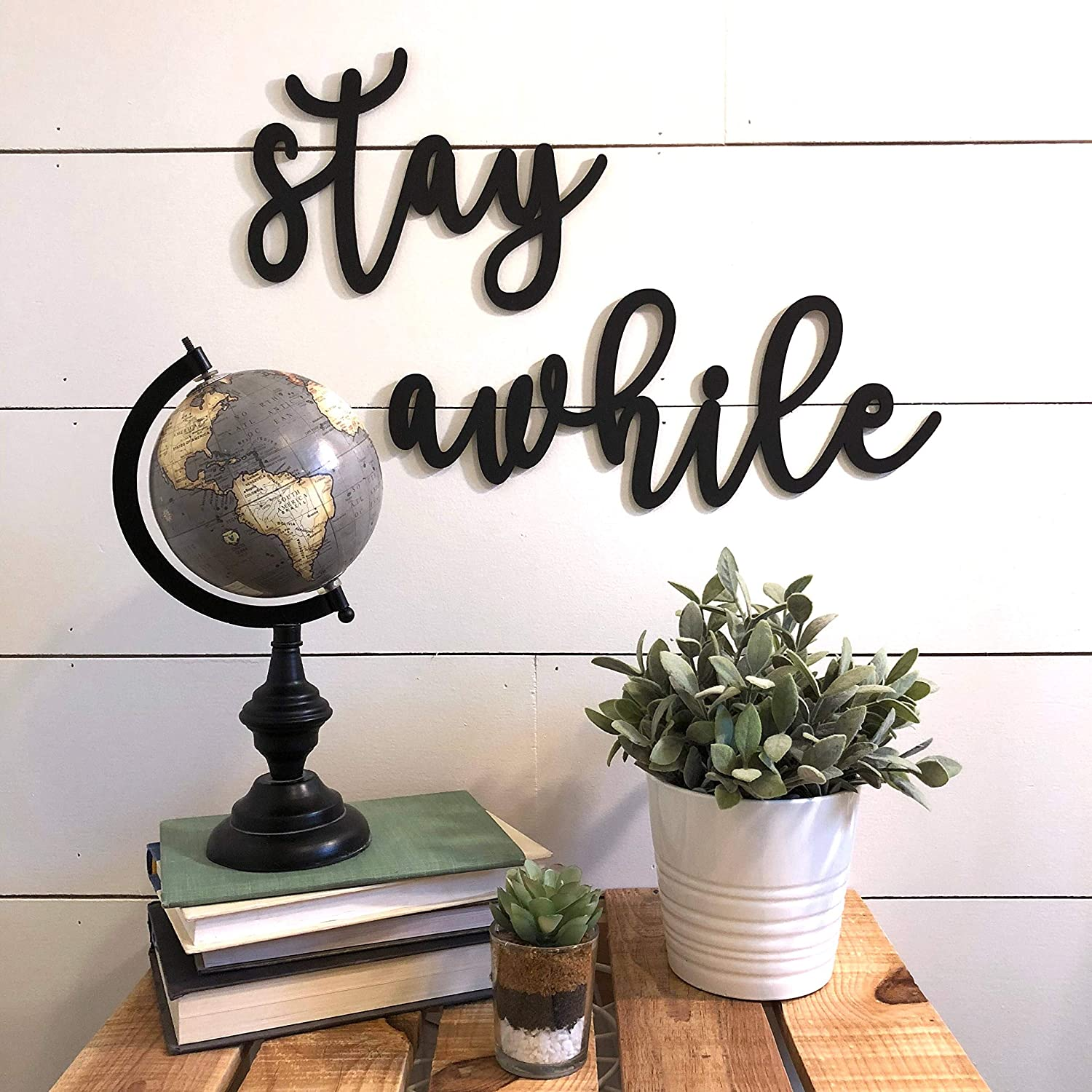 MarthaFox Stay Awhile Wall Decor Wood Cutout Wooden Word Guest Room Decor