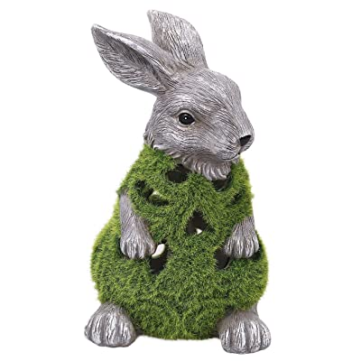 Valery Madelyn Flocked Bunny Garden Statues, Adorable Outdoor Resin Rabbits with Solar Lights, Garden Figurines for Spring Home Lawn Yard Decorations, 8.9 Inch: Home & Kitchen