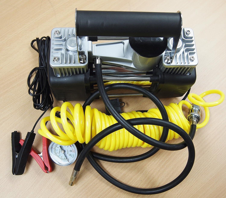 Portable 12V Dual Cylinder Air Compressor Pump 150psi Tire inflator Kit hoteche