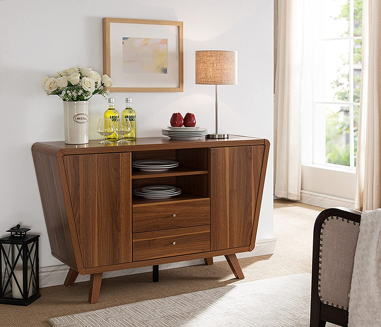 151378 Smart Home Light Walnut Buffet Table Sideboard