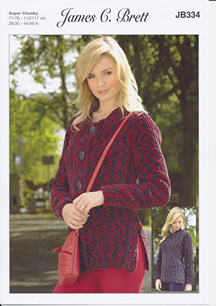c8af08857 James C Brett JB334 Knitting Pattern Ladies Sweater and Cardigan in  Flutterby Animal Prints Super Chunky  Amazon.co.uk  Kitchen   Home