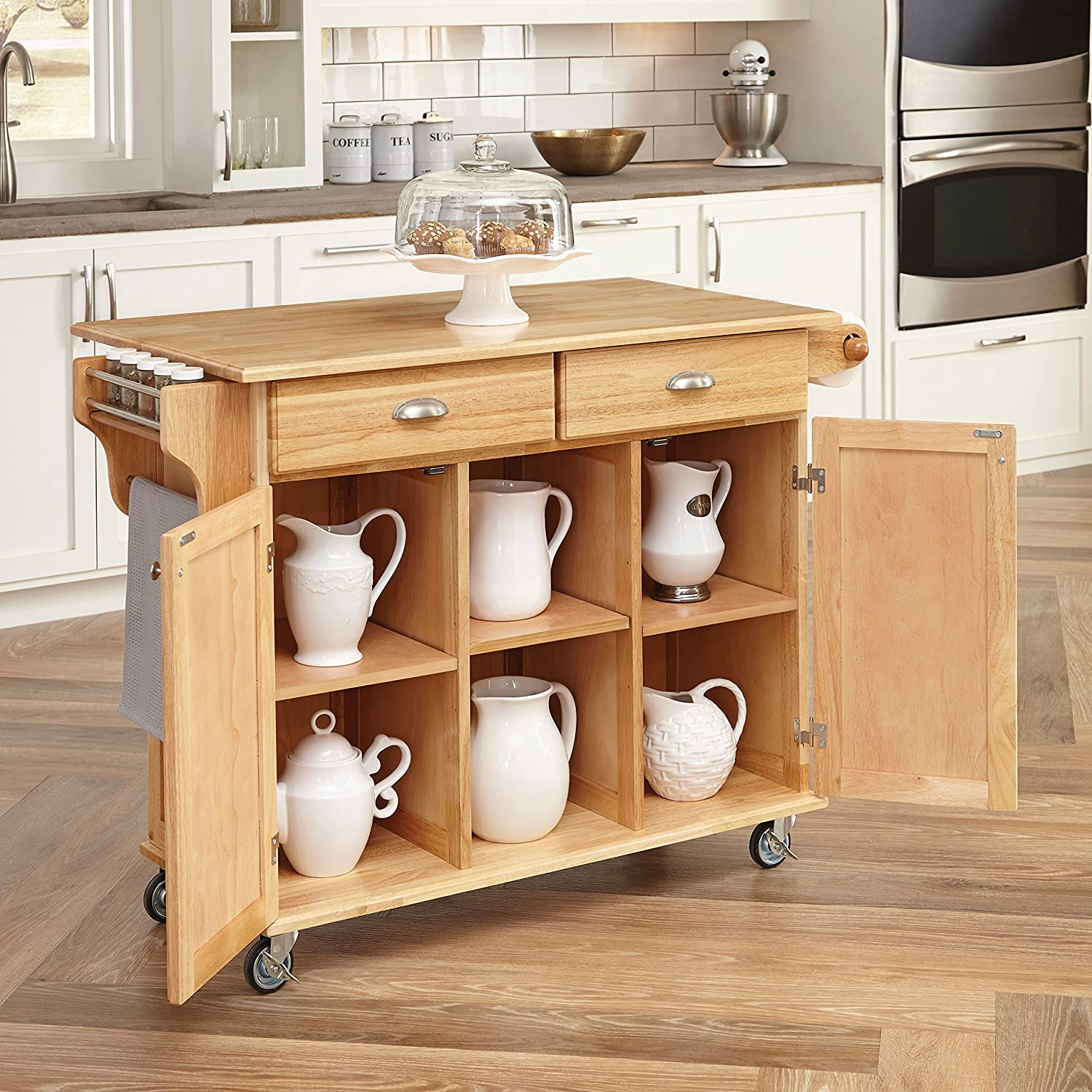 amazon com home styles 5099 95 napa kitchen center natural amazon com home styles 5099 95 napa kitchen center natural finish bar serving carts