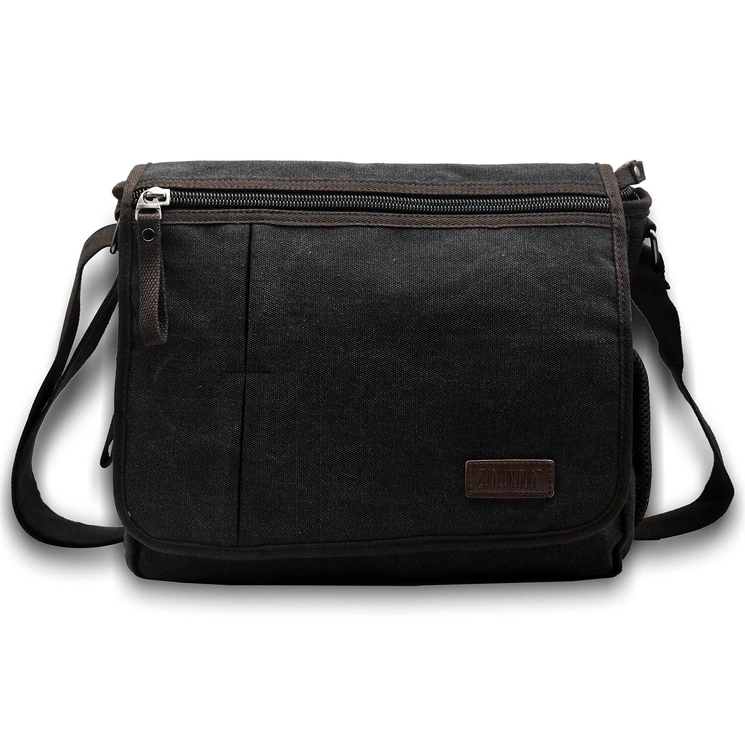 Vintage Multifunctional Men Canvas Messenger Bag Crossbody Shoulder Bag, Large, Black