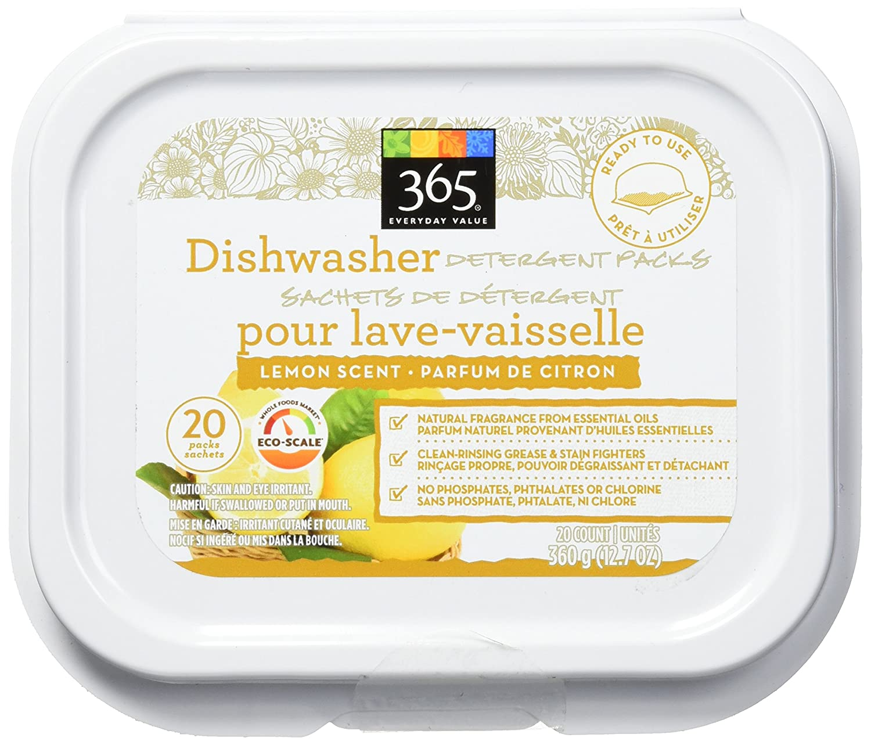 365 Everyday Value Dishwasher Detergent Pods Lemon Scent, 20 Pods Whole Foods Market